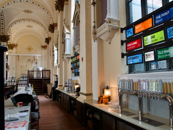 Reused interior of St. Michael's Church is now the Ministry of Brewing. Photo from Sip & Savor.