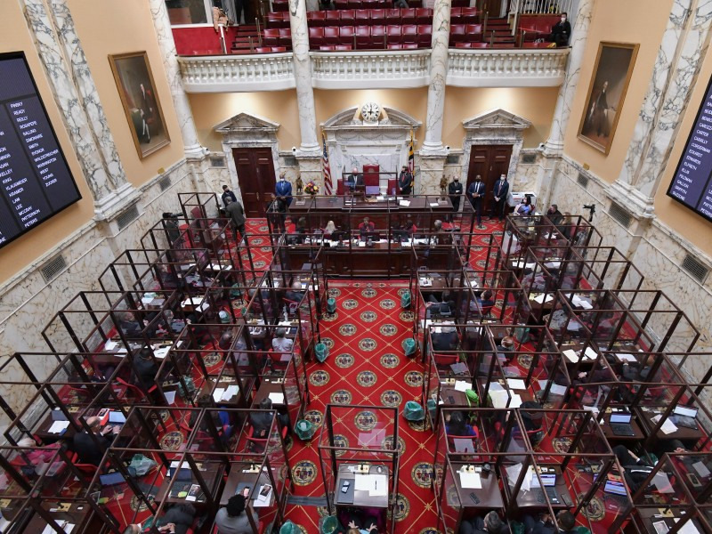 Maryland Senate Chambers, Statehouse, Annapolis, MD, 2021. Photo by Maryland GovPics on Flickr.