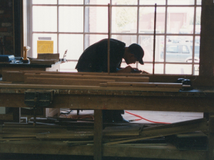 View of a preservation worker inside the National Park Service's Historic Preservation Training Center.