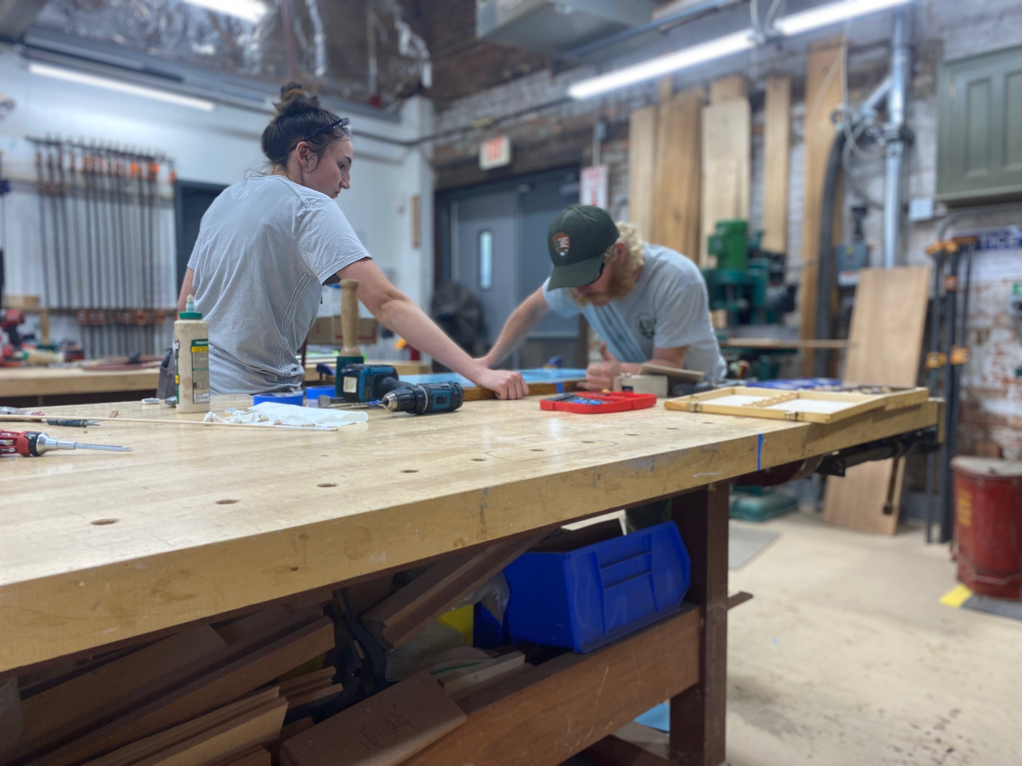 Trainees work at the Historic Preservation Training Center in Frederick, MD.
